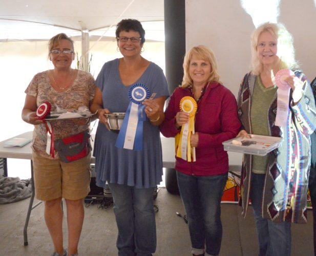 Haley Gustafson | Daily Press  Shown are the winners from the cooking contest at the 40th annual Ladeis Day event at the Upper Peninsula State Fair in Escanaba that was held on Friday. Winners, shown from left are second place winner Joanne King, first place Linda Romps, third place Becky Kuehl, and fourth place Kay VanBrocklin.
