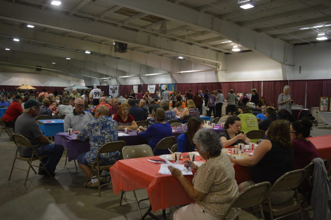 "Jordan Beck | Daily Press Hundreds of people in the Escanaba area ""said yah to da U.P."" — and the United Way of Delta County — by attending the 23rd Annual Soup'r Chili Challenge at the U.P. State Fairgrounds' Ruth Butler Building Tuesday. The event was Yooper-themed this year."