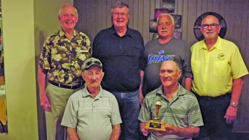 Courtesy photo by David Rood The Highland Senior Men's League recently conducted its year-end championship, known as the 'Green Jacket' tournament. The results were recently announced at a banquet. In front row from left: Bob Ward, the low gross winner and Vern Johnson, Green Jacket champion with the low net score. Back row from left: Flight winners Grant Fox (flight A), Dave Collins and Jerry Koski (tied in flight B) and Ralph Rivard (flight C).