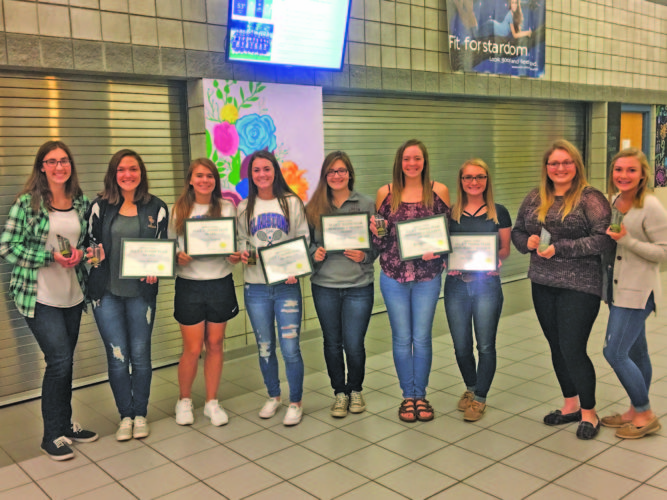 Courtesy photo Gladstone High School honored its girls tennis team at a banquet Monday night. Award recipients are from left: Lilly Griebel (Sportsmanship Award), Andie Balenger (All U.P. Singles and Most Valuable Player Award), Taylor Trudeau (All UP Doubles Award), Sydney Herioux (All U.P. Doubles and Most Competitive Award), Hannah Sharon (All U.P. Doubles Honorable Mention Award), Kirsten Williams (All U.P. Singles Honorable Mention & Sportsmanship Award), Shelby Martinucci (All UP Doubles Honorable Mention), Erin Stevenson (Most Improved Player Award), Natalie Hansen (Most Improved Player Award).