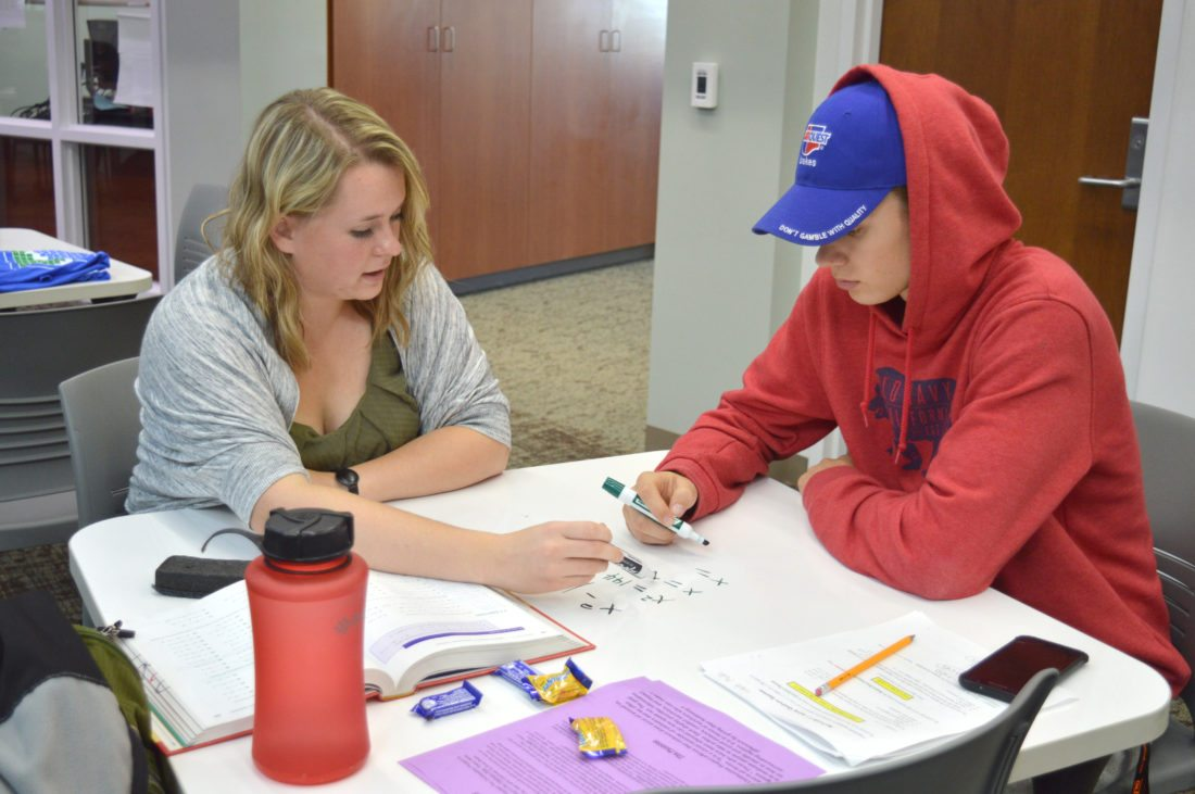 "Haley Gustafson | Daily Press  At left, Danielle Berger, a Bay College sophomore, explains a math problem to Bay College freshman Caleb Maki at The Hub, located in the Student Success Center at the college Tuesday afternoon. A ""Free the Textbook OER Rally"" was held at the college Tuesday to raise awareness about the open educational resources (OER) degree initiative, which offers low cost or free digital textbooks for college students at Bay."
