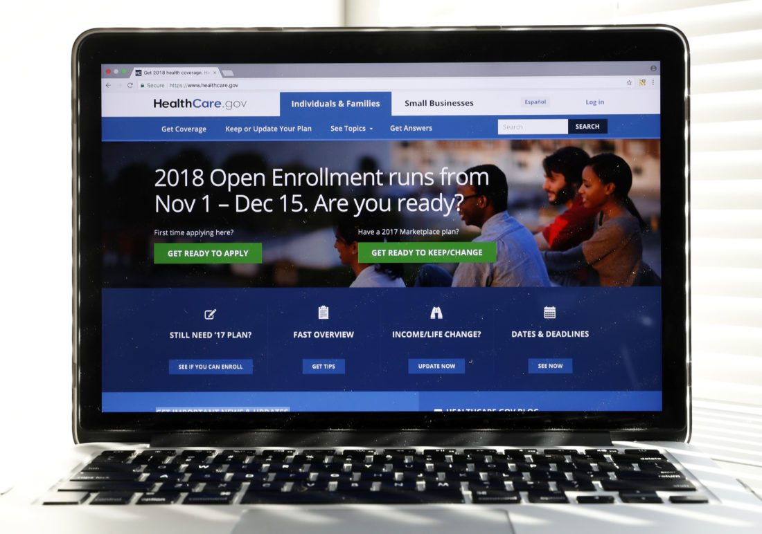 """The Healthcare.gov website is seen on a computer screen Wednesday, Oct. 18, 2017, in Washington. If President Donald Trump succeeds in shutting down a major """"Obamacare"""" subsidy, it would have the unintended consequence of making basic health insurance available to more people for free, and making upper-tier plans more affordable. The unexpected assessment comes from consultants, policy experts, and state officials trying to discern the potential fallout from a Washington health care debate that's becoming harder to follow.(AP Photo/Alex Brandon)"""
