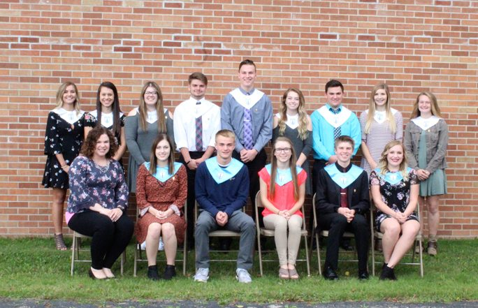 Courtesy photo North Central Area Schools held their annual National Honor Society Induction Banquet on Sunday, Oct. 15 at St. John Neumann Parish Hall in Spalding. Students honored include, top from left, juniors Marissa Anderson, Jadie Linder, Amber Gundrum, Eric Strahl, Brady Eichmeier, Ellie LaBonte, Dalton Hanchek, Chloe Wells and sophomore Bree Arsenault. They joined current members, bottom from left, adviser Miss Emily Westphal, secretary Hope Plunger, president Hunter Riley, parliamentarian/historian Nicole Harter, treasurer Ethan VanEnkevort and vice president Delaney Smith. In order to be selected as a member of the North Central Chapter of NHS, students need to portray the four pillars of NHS: character, scholarship, leadership and service. Juniors and seniors need to maintain a 3.3 GPA, while early admission sophomores require a 3.5 GPA. All students who are eligible solely based on GPA are given an application packet. After the packets are turned in, a faculty council of five teachers meets to vote on students for membership and schedule interviews for candidates as well. Seventeen students applied for the honor, with nine students chosen for membership this year.