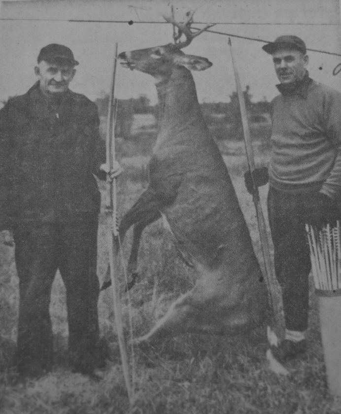 Daily Press photo At left, Louis Martin of Perkins and Levi Lavergne of Plymouth, Mich show off a 180 pound deer shot by Martin with bow and arrow on a Sunday in Oct. of 1953. The two hunters, according to the press story that went along with the picture, had to scare off two bears in order to get the deer home.