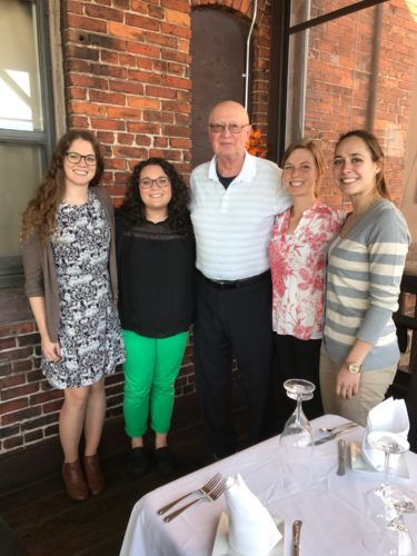 Courtesy photo Retired physician and former CEO and Community Assistant Dean of the Michigan State University College of Human Medicine UP Region, Daniel Mazzuchi MD, joins the class of 2019 Mazzuchi Scholarship recipients. From left: Kirsten Salmela, Chelsea Meloche, Andrea Kubicki and Valerie Taglione. Not pictured is Cameron Anderson.