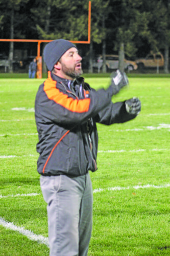 Avery Bundgaard | Daily Press Escanaba coach Dave Howes, shown in a recent playoff game against Alma, will lead the Eskymos into the state semifinals Saturday for the first time since 1981.