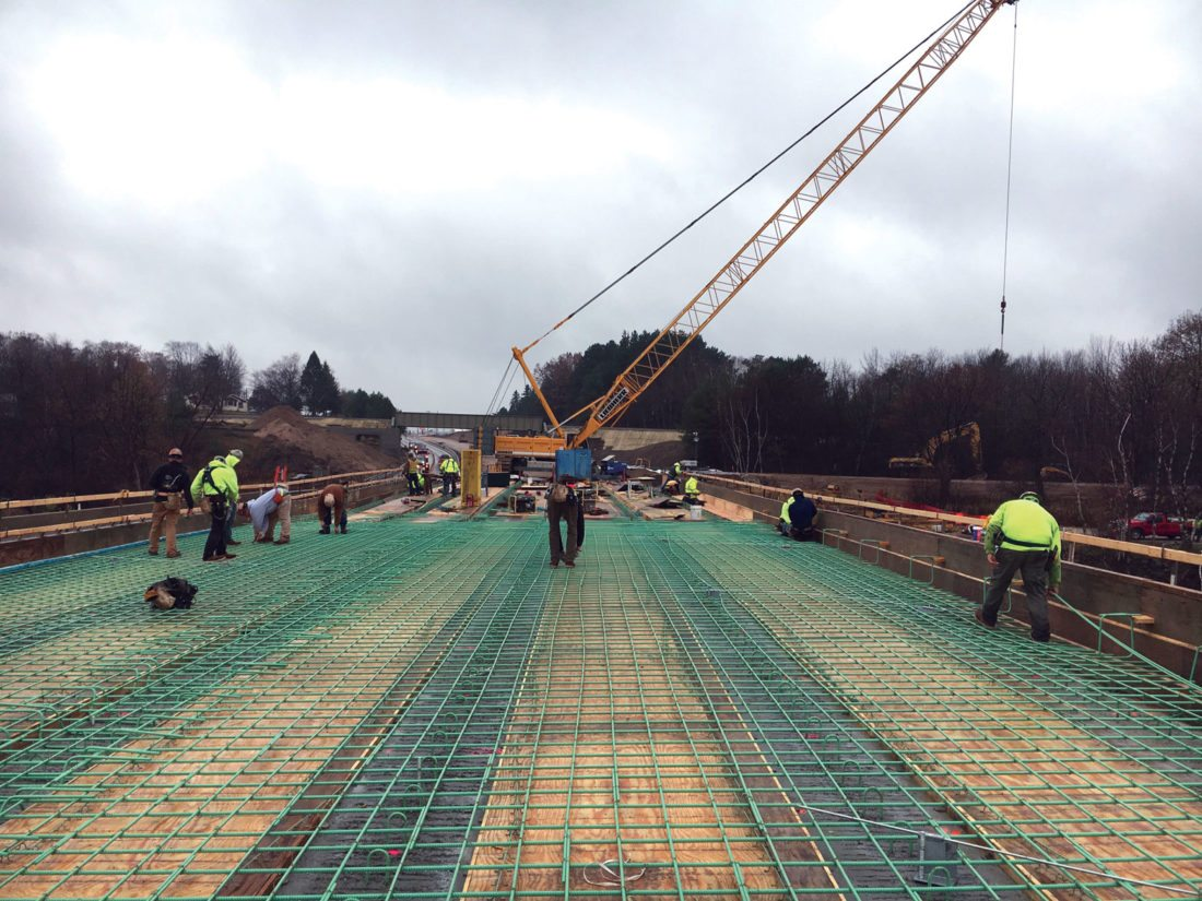 Courtesy photo Construction work continues on the U.S. 2 and 41 bridge over the Escanaba River, as shown in a photo provided by the Michigan Department of Transportation (MDOT). MDOT plans to briefly close the bridge to traffic later this month.