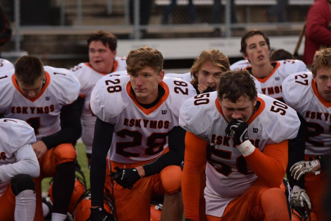 Courtesy photo Anne Truitt  Escanaba players get emotional after a 24-0 loss to Grand Rapids Catholic Central in Saturday's Division 4 state semifinal game in Traverse City.