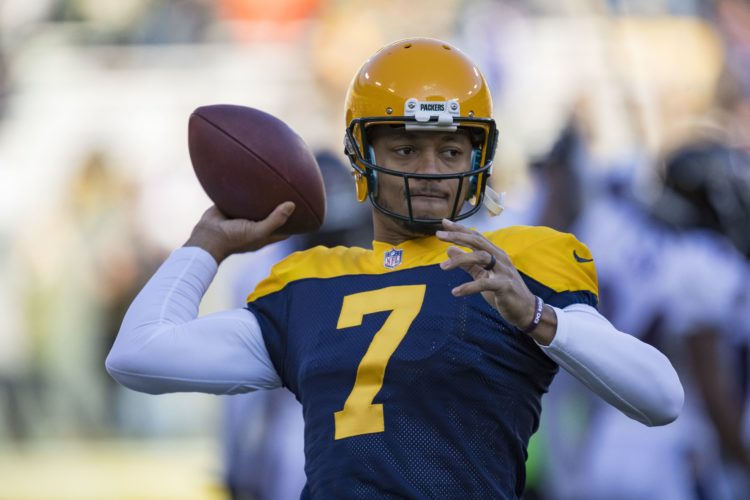 AP photo Green Bay Packers quarterback Brett Hundley warms up prior to the start of a game against the Baltimore Ravens Sunday in Green Bay.