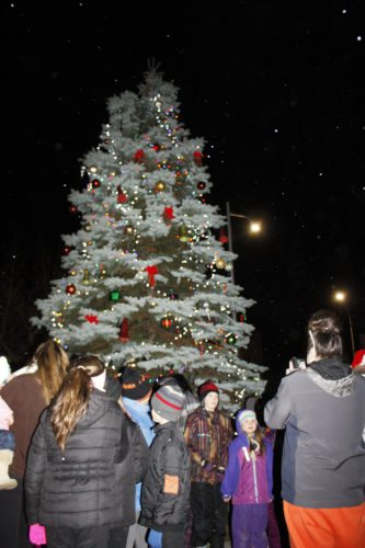 "Jenny Lancour | Daily Press Above, people who came out for ""Black Friday on Tuesday"" sales at businesses downtown and to watch the annual Escanaba Christmas tree lighting view the freshly-lit tree."
