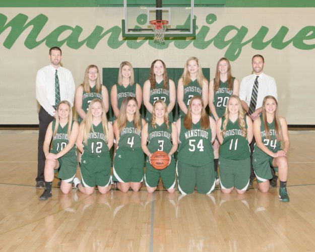 Courtesy photo Members of the 2017-2018 Manistique girls basketball team are front row from left: Sydney Peterson, Renae Schuetter, Madison Kraatz, Madison Berry, Lexi Russell, Emily Baker and Joslyn Muth; back row from left: Head coach Dave Winkel, Kylie Johnson, Sydnee MacPhail, Alex Lakosky, Maddie McAlpine and assistant coach Scott Nagy.