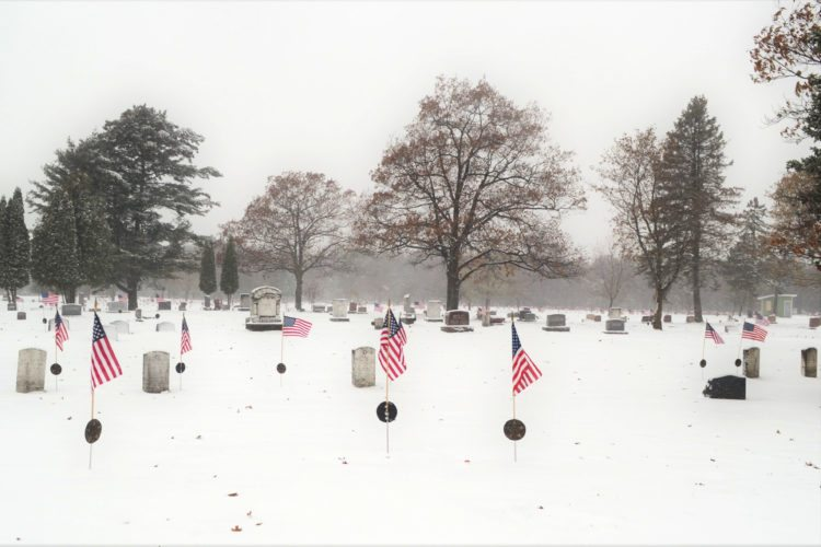 Courtesy photo Above, the flags placed on all the veterans graves at Fernwood Cemetery in Gladstone by Cub Scouts of Pack #471  to commemorate Veterans Day are shown. The August Mattson Legion Post and Sons #71 gives a big thank-you to the Cub Scouts for their work decorating the graves.