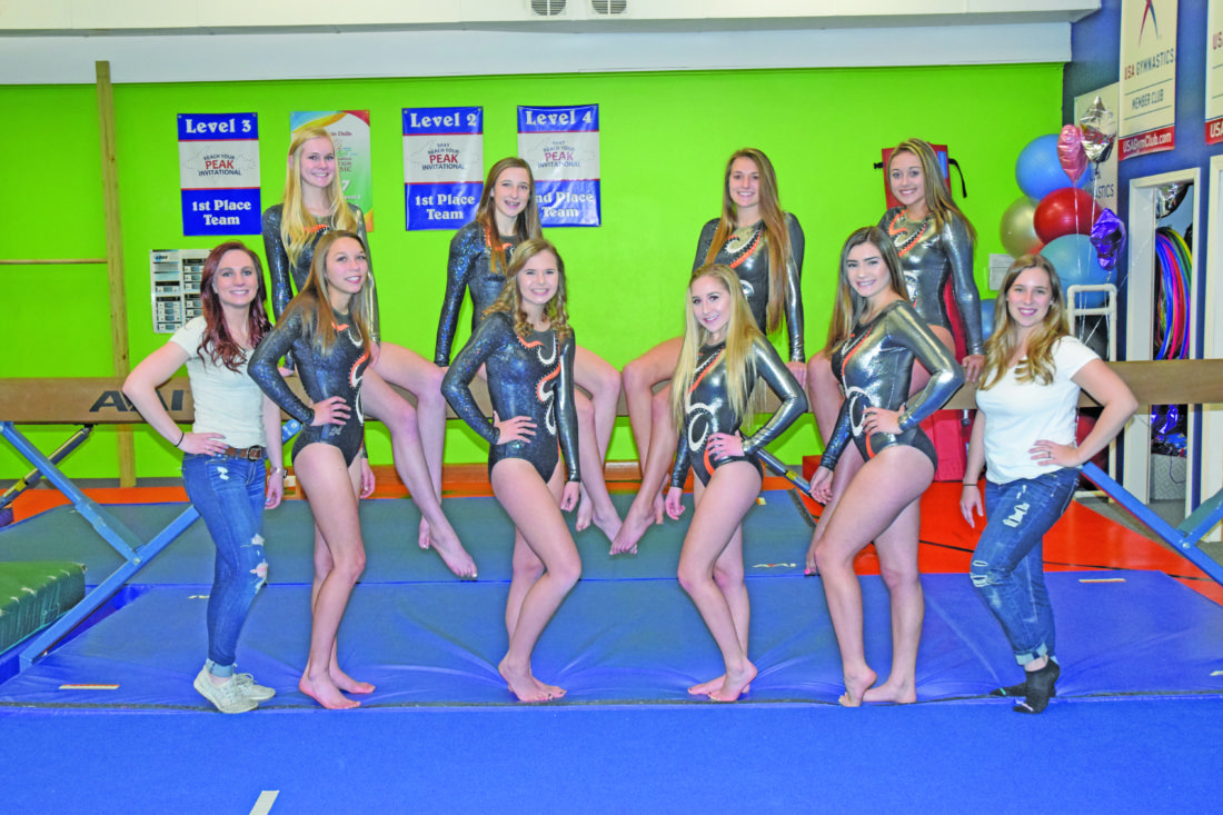 Mike Mattson | Daily Press Members of the Escanaba gymnastics team are front row from left: Assistant coach Jayna Ray, Sarah Peippo, Nina Kregelka, Emma Quaghebeur, Ellie Pepin and coach Lyndsey Rogers. Back row from left: Mckenna Thibeault, Madison Block, Morgan Heidt and Meghan Martin.
