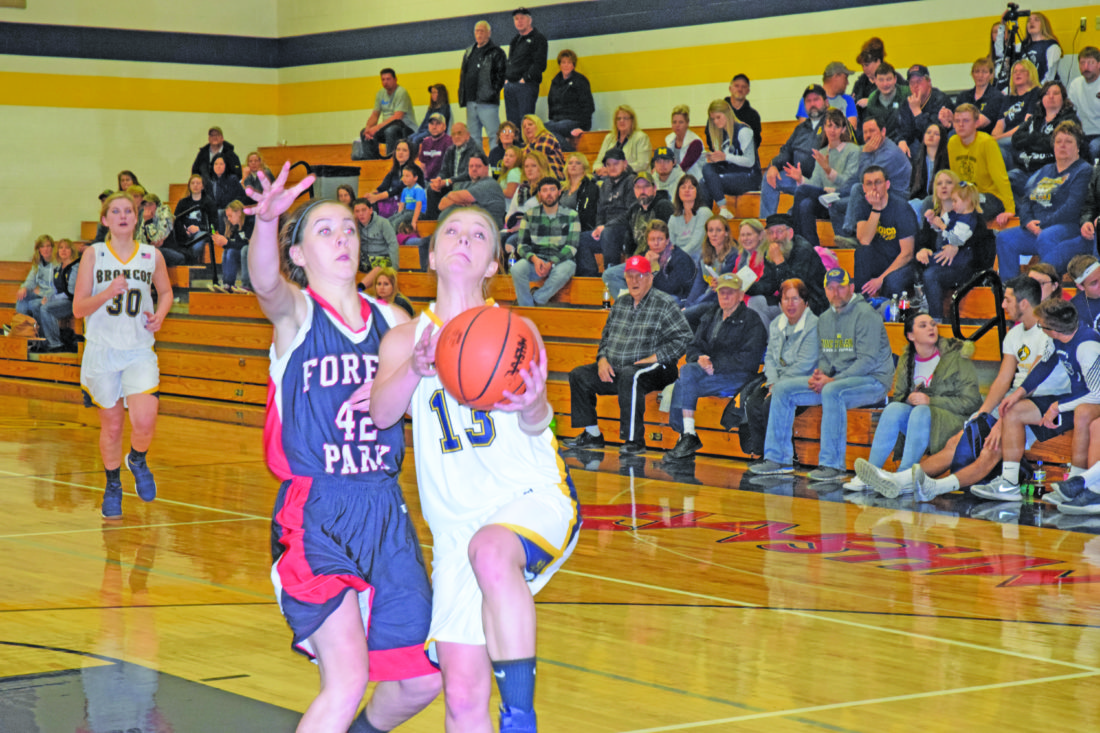 Mike Mattson | Daily Press Bark River-Harris' Hailee Demers drives to the basket before being fouled by Forest Park's Hannah Cross in the fourth quarter Friday.