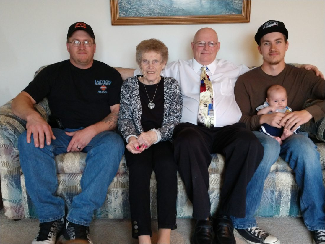Courtesy photo Five generations of Livermores were gathered recently. Shown at left are: Lois King (Livermore), second from left; Michael Livermore; Jeremie Livermore; Zavier Livermore, and Liam Livermore.
