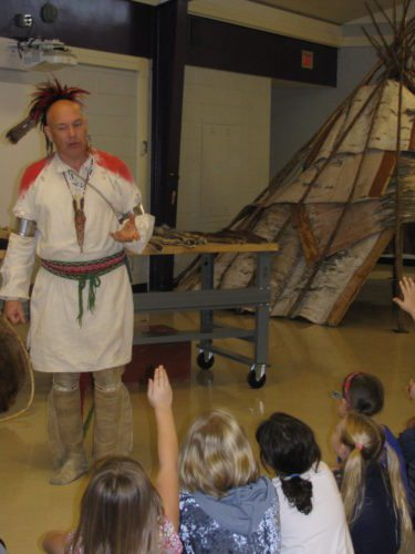 Courtesy photo Keith Knecht answers questions about Native American culture while visiting James T. Jones School last month.