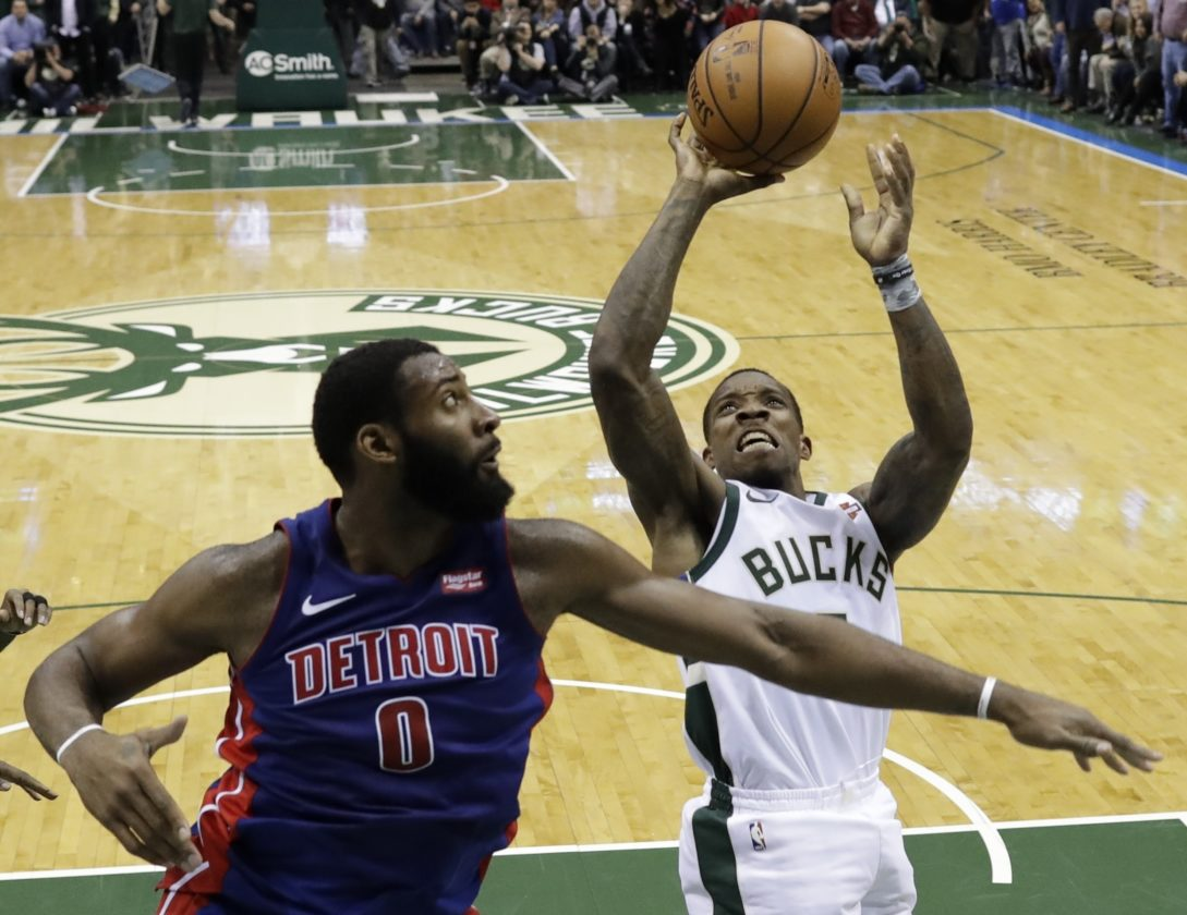 AP photo Milwaukee Bucks' Eric Bledsoe shoots over Detroit Pistons' Andre Drummond during the second half Wednesday in Milwaukee.