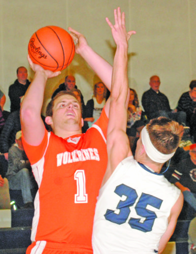 Burt Angeli | The Daily News Photo Mid Peninsula's Billy Carlson (1) shoots over Norway's Connor Ortman (35) in Monday's Skyline Central Conference boys basketball game.