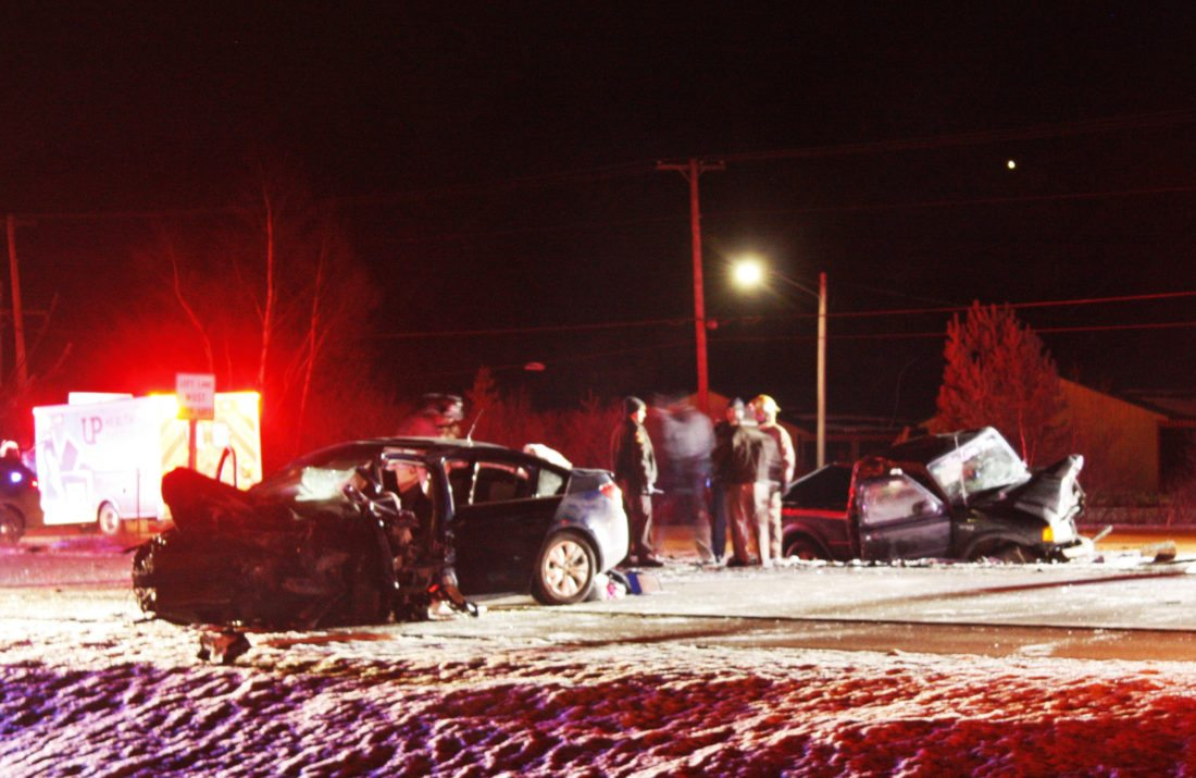 Jenny Lancour | Daily Press Two vehicles, pictured above, were involved in a head-on collision on U.S. 2 & 41/M-35 in Gladstone shortly after 10 p.m. Tuesday night, Dec. 19, 2017.