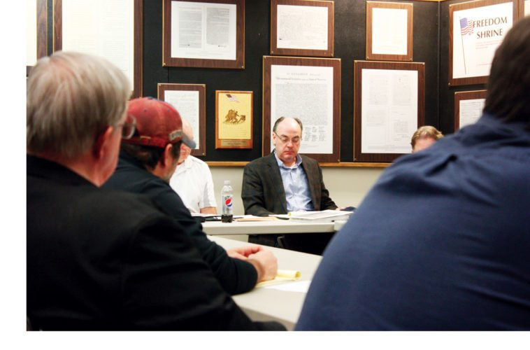 Jenny Lancour | Daily Press Escanaba City Manager Patrick Jordan listens as city department heads present their 2018-2019 budget needs and challenges during a work session with council members at city hall on Wednesday.