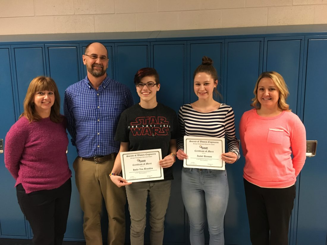 Courtesy photo Gladstone High School students Holly VanBrocklin and Isabelle Hanson were recently honored with Certificates of Merit from Michigan Technological University's Society of Women Engineers. Each year, this group recognizes and encourages the top 11th and 12th grade female math and science students from schools across Michigan and Wisconsin. The honorees are pictured with their teachers, Robin Schwartz, Tim Barron, and Paula Lundin.