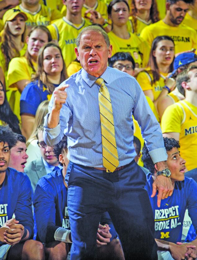 AP photo UM coach John Beilein, showing his displeasure for a call against Purdue Tuesday, will lead the Wolverines against MSU.
