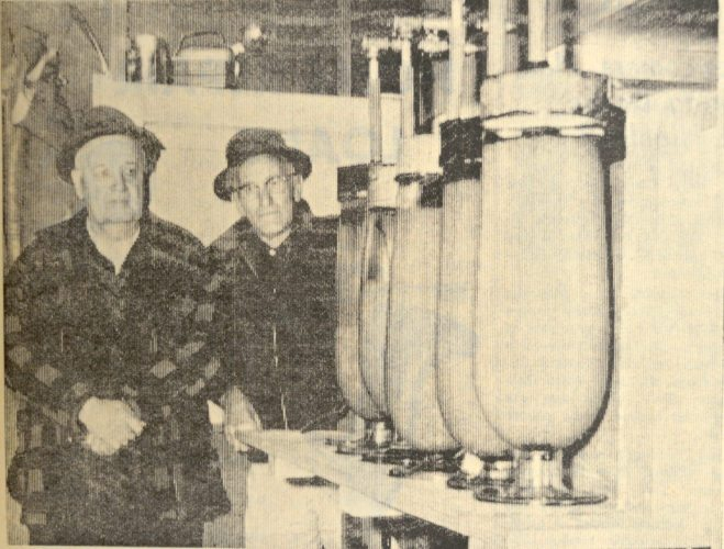 Daily Press photo In this 1966 Daily Press photo, Cal Stevens and G. L. Bouschor of the Indian Lake Property Owners Association look at walleye eggs being hatched in large jars in a project of the Property Owners to stock Indian Lake. More than five million eggs were hatched.