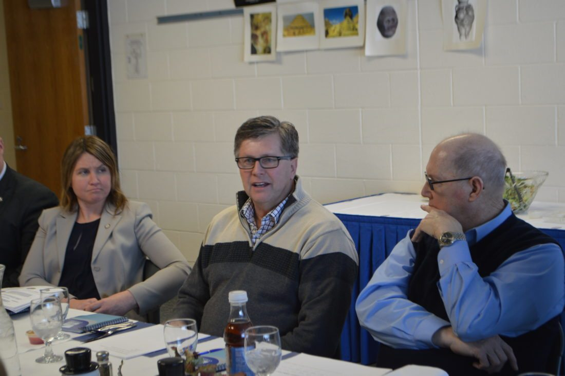 Jordan Beck | Daily Press From left, State Rep. Sara Cambensy, State Sen. Tom Casperson, and Bay College Board of Trustees Vice-Chair William Lake attend a luncheon and special board meeting. This luncheon was held at the college Friday.