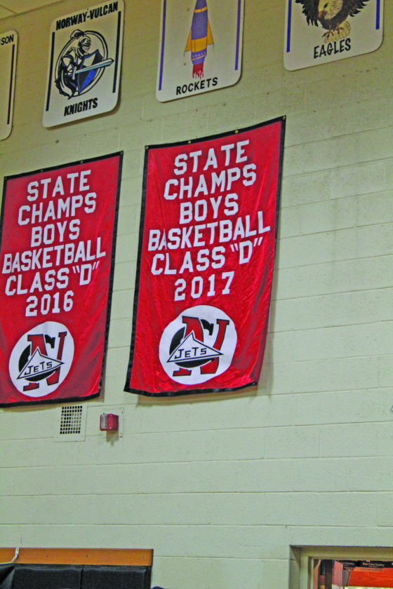 Avery Bundgaard | Daily Press North Central unveiled its 2017 Class D boys' state championship banner Friday night at the Forest Park game. The Jets defeated Buckley in the Class D state title game to secure their third straight state crown.