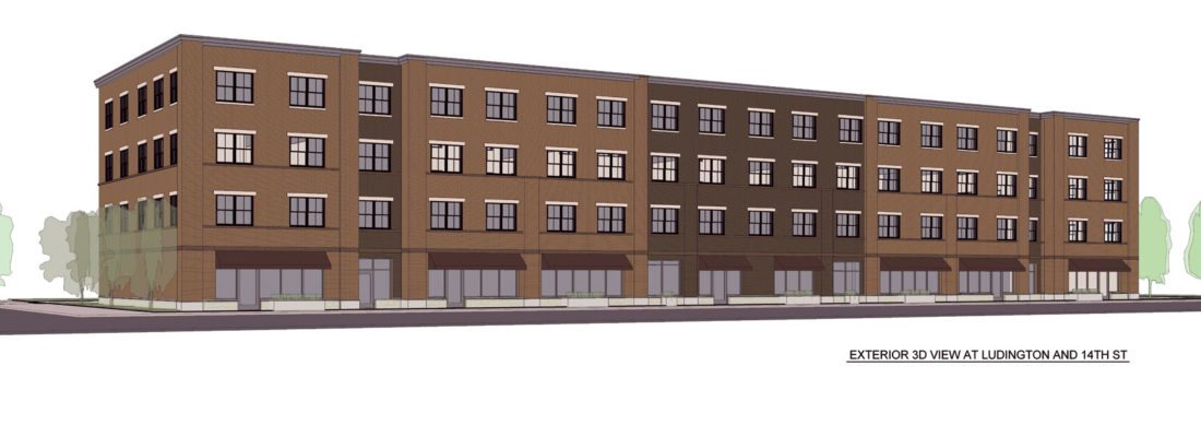 Artist rendition of proposed apartment complex on the 1400 block of Ludington Street