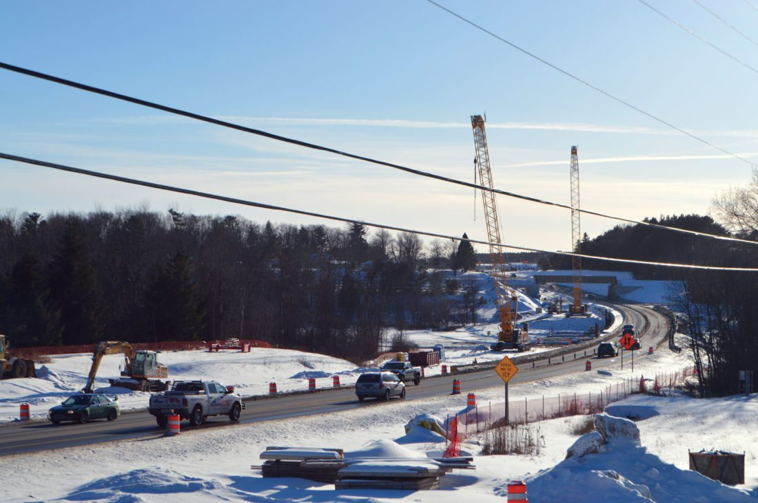 Jordan Beck | Daily Press The U.S. 2 and 41 bridge over the Escanaba River is shown Tuesday. Although winter weather has a firm grip on the area, work on the bridge replacement project continues.