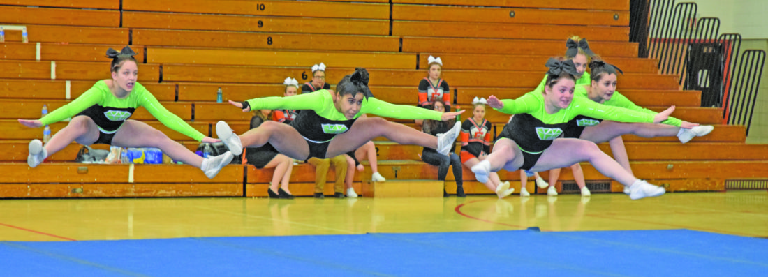 Mike Mattson | Daily Press Members of the Manistique cheer team compete in Saturday's Eskymo Elks Invitational.