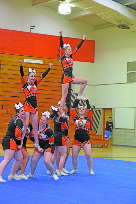 Mike Mattson | Daily Press Members of the Escanaba cheer team compete at the Eskymo Elks Invitational.