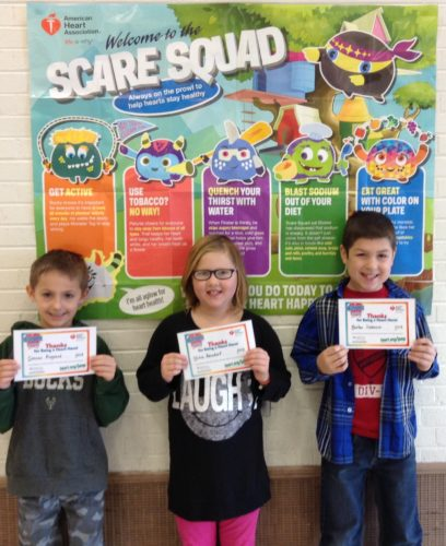 Courtesy photo Three Lemmer Elementary School students raised $250 for the American Heart Association by participating in Jump Rope for Heart in Molly Lancour's Physical Education class.  Connor Asgaard (1st grade), left, Olivia Beindorf (2nd grade),  and Karter Demeuse (3rd grade) had a huge hand in helping Lemmer School raise over $3,100 for the American Heart Association.