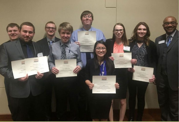 Courtesy photo Bay College students recently Earn the Right to Compete at the National Leadership Conference for Business Professionals of America . They are, from left, Kenneth Schultz, Tristan Kuntze, James McNeil, Neil Dennis, Steven Lippold, Maia Roll, Renee Perrault, Olivia Rivard, and Maurice Henderson – Michigan's BPA Director