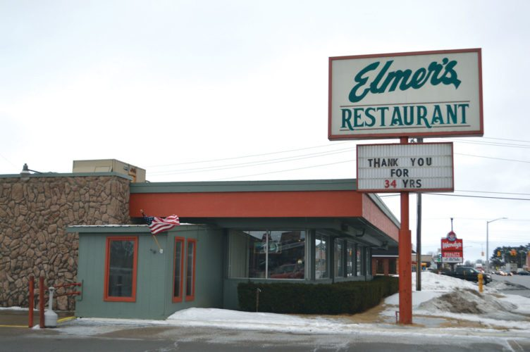 Jordan Beck | Daily Press Local eatery Elmer's Restaurant is pictured. After 34 years of business on Escanaba's Lincoln Road, the restaurant closed its doors Sunday.