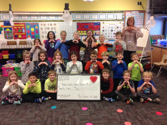 Courtesy Photo  Mrs. Austin's first grade students from Cameron Elementary in Gladstone collected 100 pennies on the 100th Day and voted to donate the money to the Delta Animal Shelter. In total, the students raised $22 for the shelter.