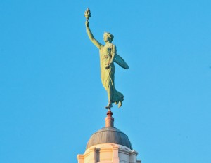 Lady Liberty atop the Allen County Courthouse, photography by Neal Bruns