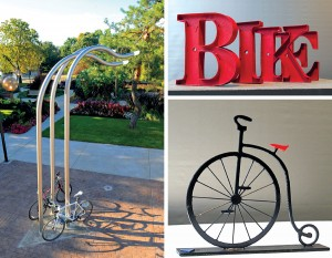 A sampling of bike rack sculptures, photos courtesy of IPFW
