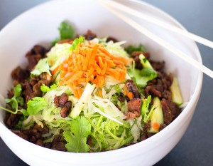 Banh Mi Barista's Rice Noodle bowl, photography by Neal Bruns