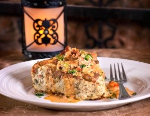 Bourbon Street Hideaway's Alligator Sausage and Shrimp Quiche, photography by Neal Bruns