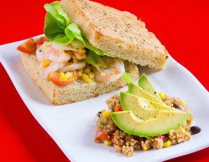 Mockingbird Kitchens' Shrimp Salad Sandwich, photography by Neal Bruns