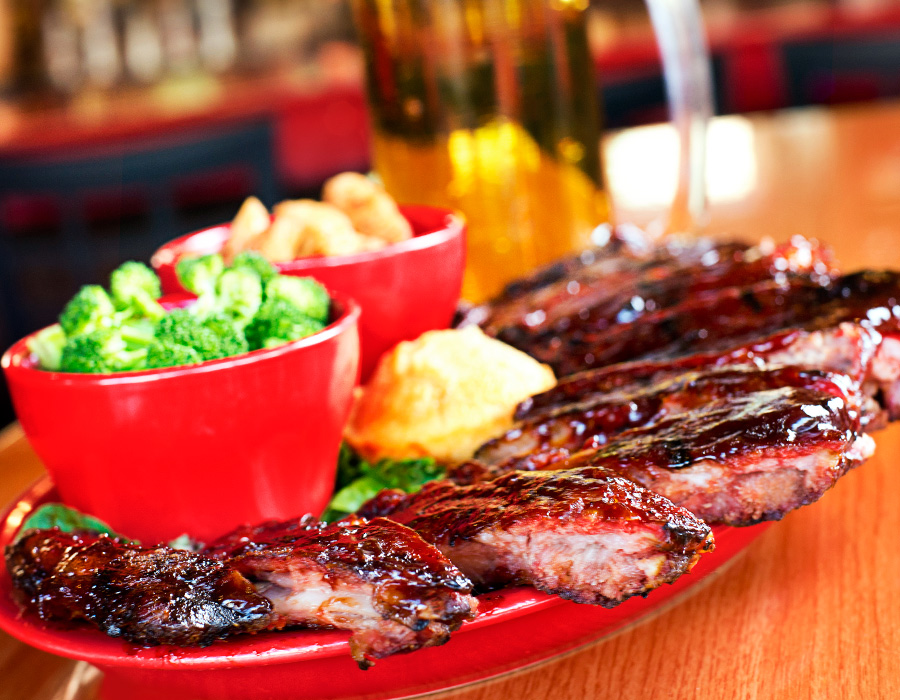 Red Rok's St. Louis-style barbecued ribs, photography by Neal Bruns
