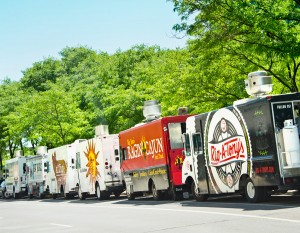 Food trucks lined up at One Summit Square, photography by Neal Bruns