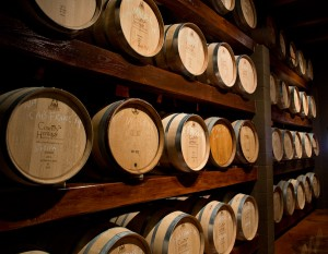 Wine barrels at Country Heritage Winery, photography by Neal Bruns