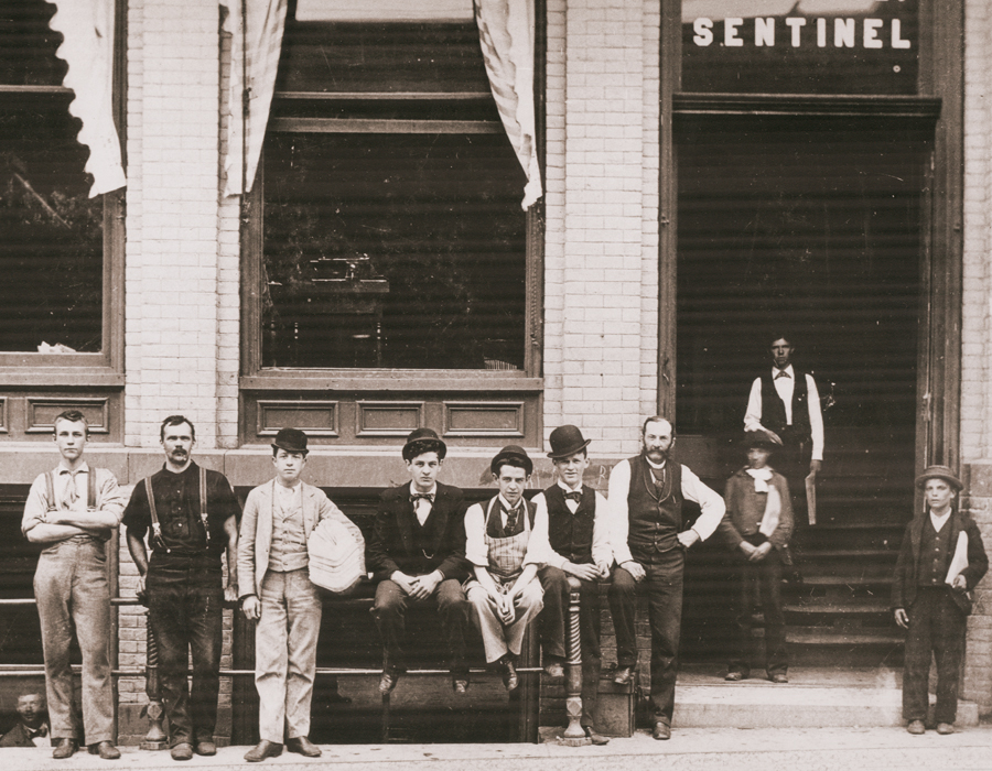 This photo, taken in 1890, shows The Sentinel's offices at 107 Calhoun Street, photo courtesy of The News-Sentinel