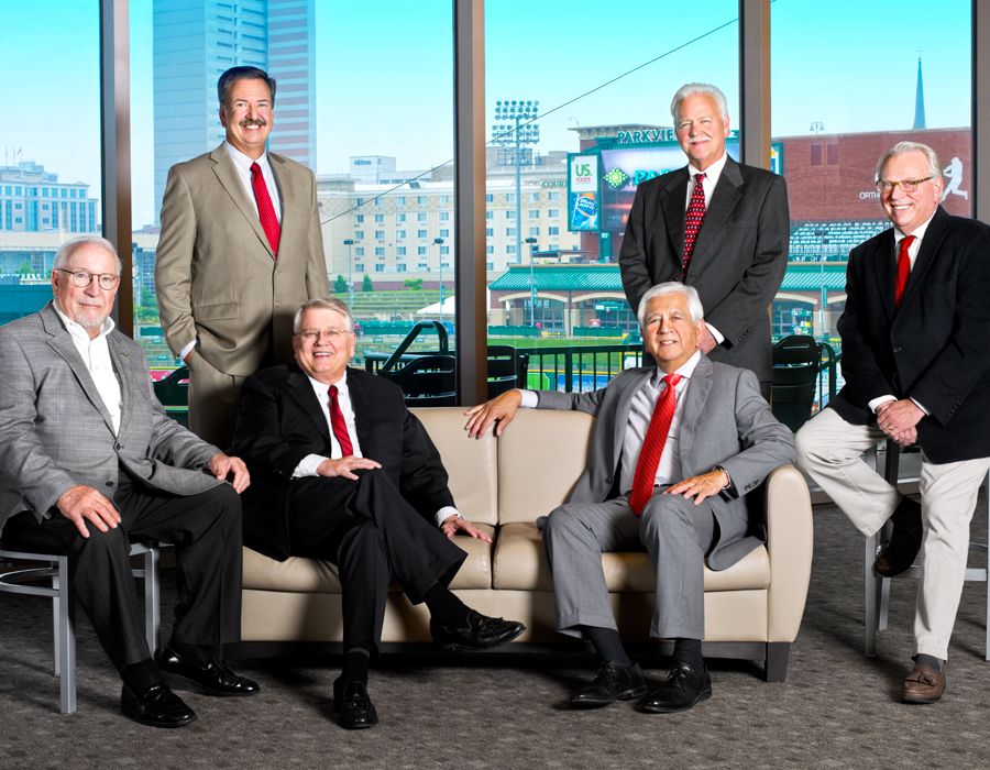 From left: Don Wood, Chuck Surack (standing), Win Moses (seated), Steve Corona (seated), Kevin Donley (standing) and Tom Smith. Not pictured are Karen Gibbons-Brown, Marilyn Moran-Townsend and Michelle Gladieux. photography by Neal Bruns
