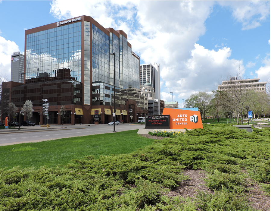 Downtown Fort Wayne skyline in Arts Campus area