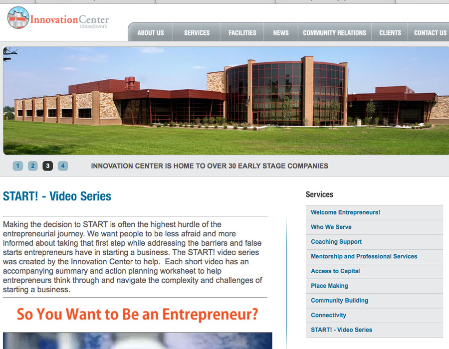 Northeast Indiana Innovation Center's START! video series web page