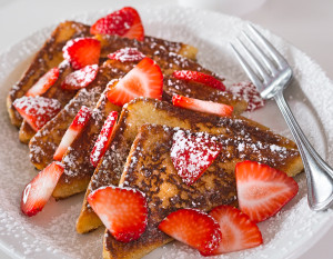 Chrome Plated Diner's French toast with strawberries, photography by Neal Bruns